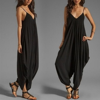 Women Casual Sleeveless Deep V Neck Jumpsuit Plus Size Summer Spaghetti Strap Rompers