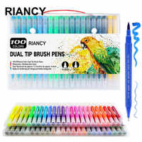 100 colores, pinceles de doble punta, lápices, pincel, material escolar 12/18/24/36/48/72/100 Uds.