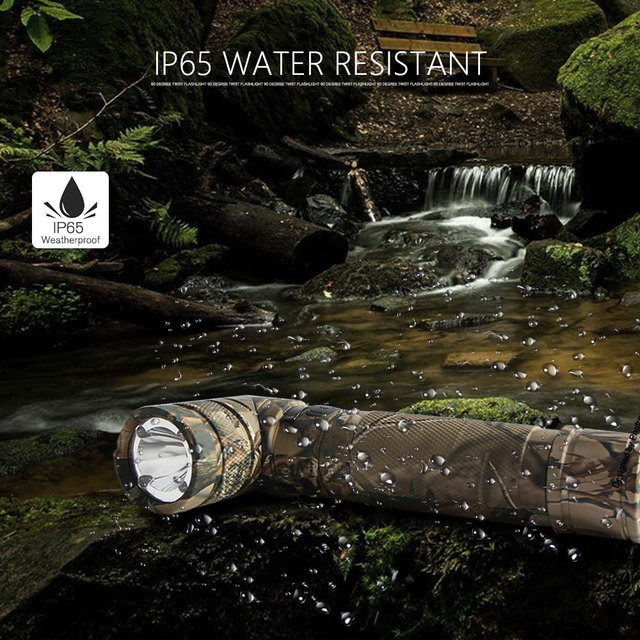 NICRON 3-Color Light 90 Degree Camo Rechargeable Twist Flashlight With 360 Rotary Clip 18650 Waterproof 1200LM LED Torch B70Plus 5