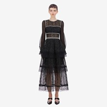 High quality women's long sleeves lace dress Fashion beading hollow-out black dress A851 black cut out lace details cold shoulder long sleeves top