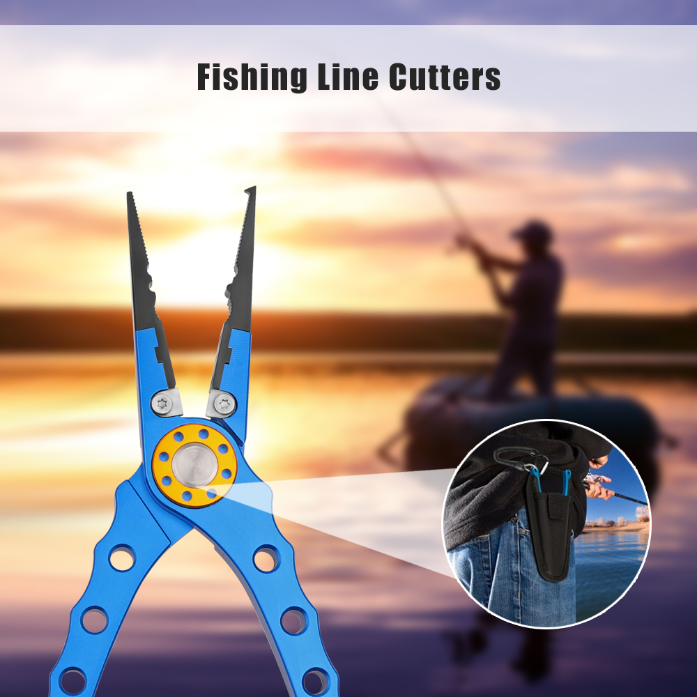 Aluminum Fishing Pliers Split Ring Cutter Carp Crimping Lead Fish Holder Tackle Hook Remover Goods For Fishing 18cm Fish Parts