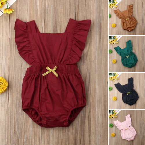 Newborn Infant Baby Girls Solid Ruffle Romper Jumpsuit Clothes Outfits