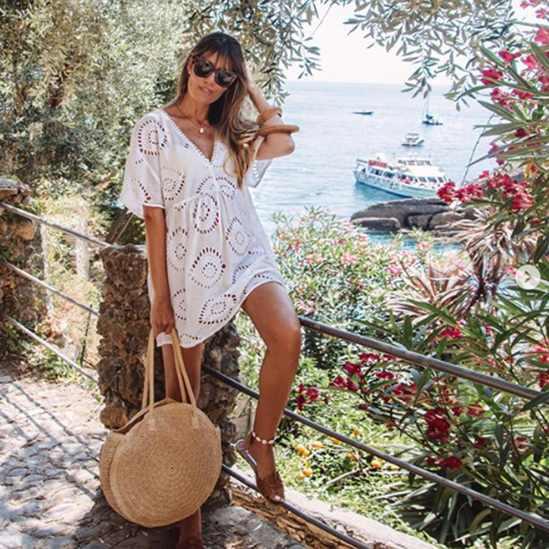 Europe And America New Style Sexy Deep V Crocheted Flowers Pierced Cover-up Bikini Outdoor Slimming Beach Holiday Skirt Women's