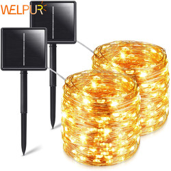 Solar String Fairy Lights 12 M 100LED / 5M 50 Led Waterdichte Outdoor Garland Solar Power Lamp Kerst Voor tuin Decoratie