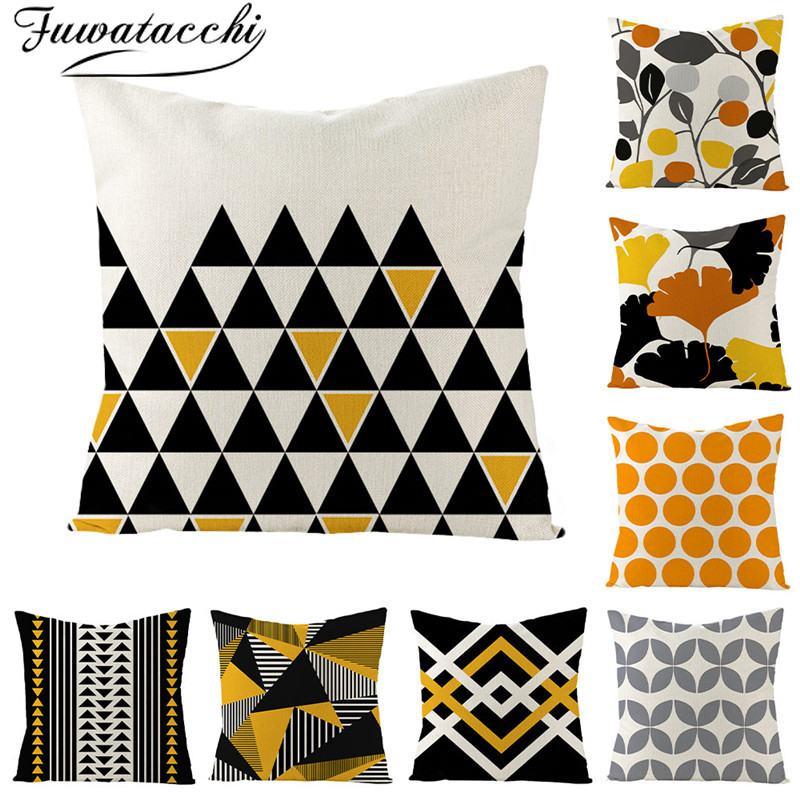 Fuwatacchi Geometric Nordic Style Cushion Cover Pure Linen Throw Pillow Cover For Home Chair Sofa Decorative Pillowcases 45x45Cm