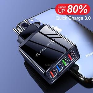 Быстрая зарядка 3,0 4,0 USB зарядное устройство 3,0 А быстрая настенная Стандартная зарядка для iPhone 11 Samsung S9 S8 4 порта адаптер QC зарядное устройств...