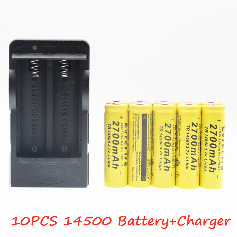 New Original 14500 battery 3.7V 2700mAh Rechargeable Li ion Batteries For Flashlight + EU US Battery Charger Drop Shipping|Replacement Batteries|   - AliExpress