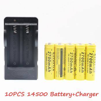 Nowa oryginalna bateria 14500 3 7V 2700mAh akumulatory litowo-jonowe do latarki + ue usa ładowarka Drop Shipping tanie i dobre opinie Jungla Li-ion 2601-2999 mAh Ładowarka Zestawy Pakiet 1 2-10PCS Other
