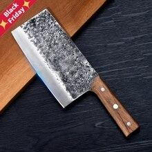 Кованый кухонный нож ручной работы, китайские кухонные ножи 7Cr17mov, кованый кухонный нож из нержавеющей стали, острый клинок