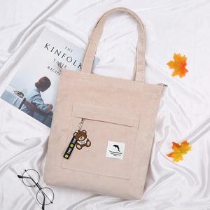 Image 2 - 2020 bolsa feminina de veludo com zíper de ombro bolsa de lona de algodão bolsa casual tote feminino crossbody saco das senhoras do vintage