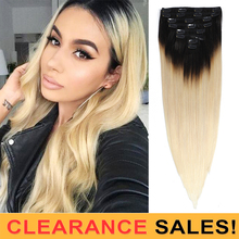 Human-Hair-Extensions Mrs-Hair Clip-In Straight Ombre 150g 20-Full-Head-Nonremy 8pcs/Set