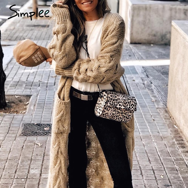 Simplee Winter Mohair Long Cardigan Knitted Sweater Women Long Sleeve Female Jumper Cardigan Casual Streetwear Pull Femme 2019
