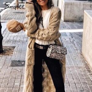 Image 1 - Simplee Winter mohair long cardigan knitted sweater women Long sleeve female jumper cardigan Casual streetwear pull femme 2019
