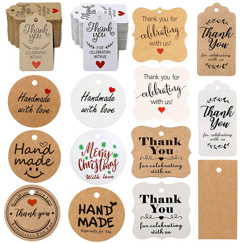 300Pcs/pack Kraft Gift Tags Thank You For Celebrating With Us Labels Handmade For Wedding Party Decoration Stationery Gift Label