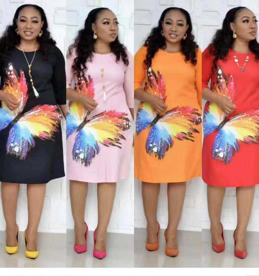 2019 Autumn Sexy Fashion Style African Women O-neck Printing Plus Size Dress