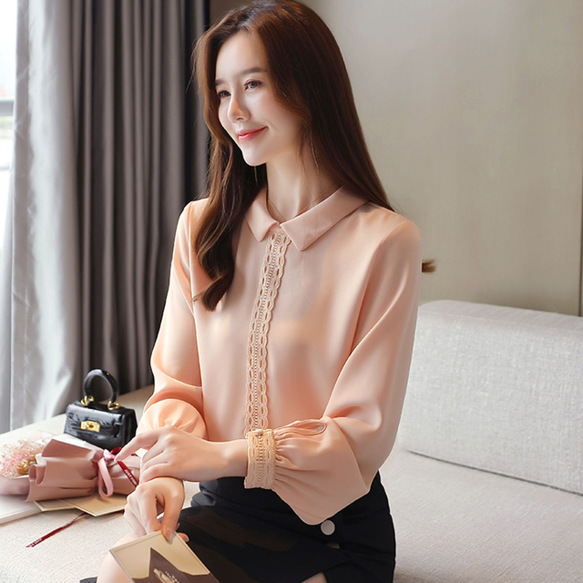 Korean Chiffon Shirts Women Long Sleeve Shirts Woman Solid Blouses Tops Office Lady White Shirt Tops Plus Size Woman Blouse Top 5