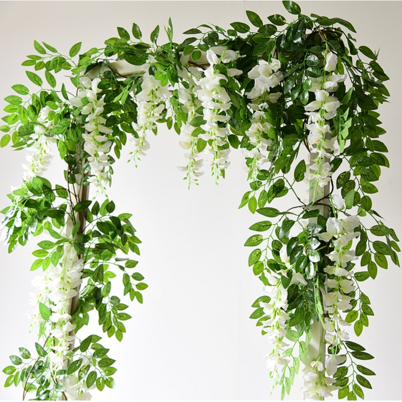 Artificial Flowers Vine Garland Wisteria Silk Artificial Rattan Hanging Flowers Romantic Wedding Arch Decoration Fake Ivy Plants(China)