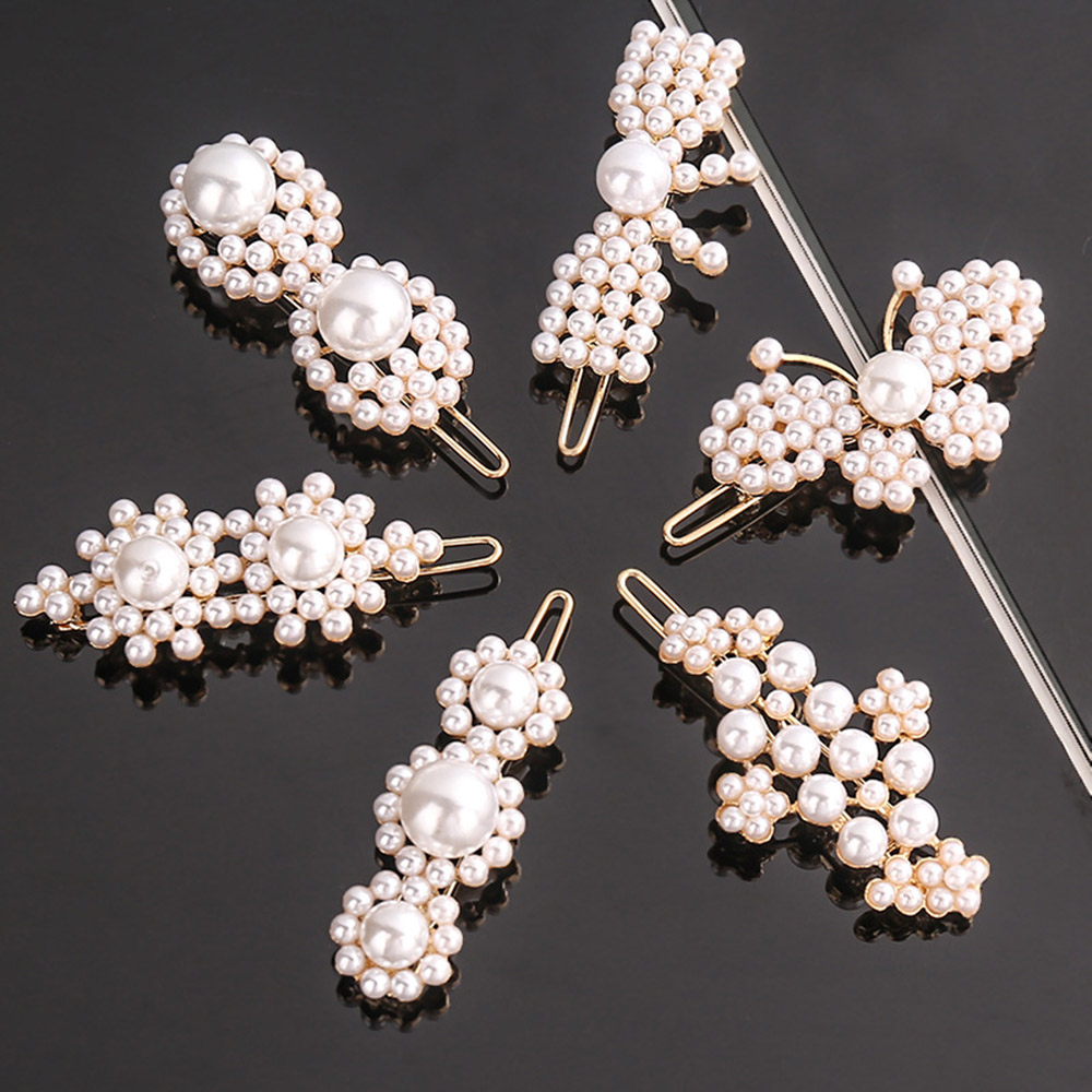 1PC NEW Fashion Geometric Irregular Pearls Hair Clips Korean Hairpins Metal Barrettes Girls Hair Styling Accessories
