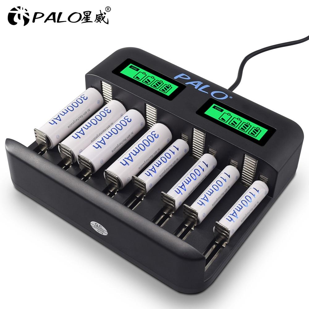 PALO 8 слотов LCD USB Smart AA AAA зарядное устройство для батареи 1,2 В AA AAA SC C D размер аккумуляторные батареи быстрое зарядное устройство|Зарядные устройства|   | АлиЭкспресс