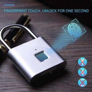 Image 1 - Smart Lock Keyless Blocco Delle Impronte Digitali USB Ricaricabile Serratura Della Porta Intelligente Lucchetto Rapido Sblocco In lega di Zinco Auto Lo Sviluppo di Chip