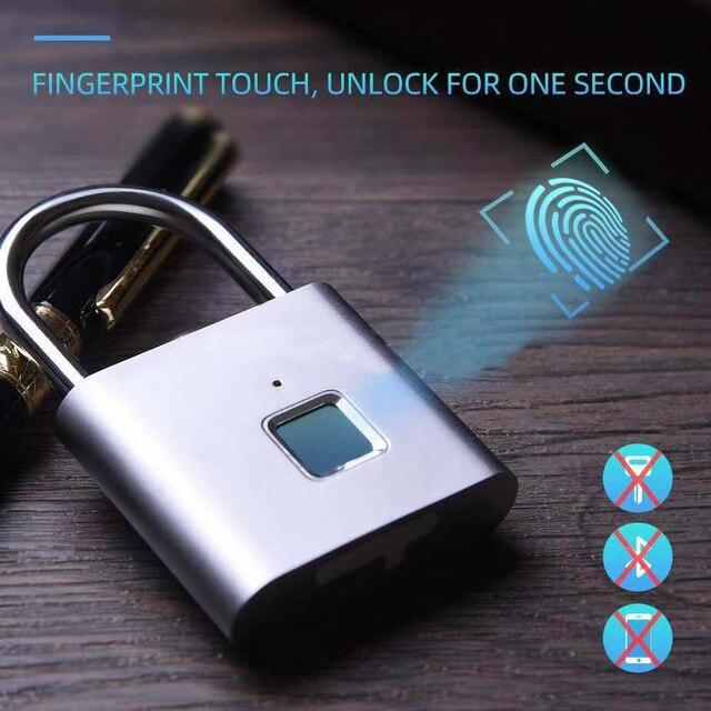 Smart Lock Keyless Blocco Delle Impronte Digitali USB Ricaricabile Serratura Della Porta Intelligente Lucchetto Rapido Sblocco In lega di Zinco Auto Lo Sviluppo di Chip