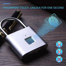 Smart Lock Keyless Fingerprint Lock USB Rechargeable Door Lock Smart Padlock Quick Unlock Zinc alloy Self Developing Chip