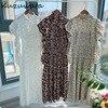 Kuzuwata Vintage Stand Collar Puff Sleeve Women Dress 2021 New Slim Waist Pleated Vestidos Mid Length Flower Print Dresses 1