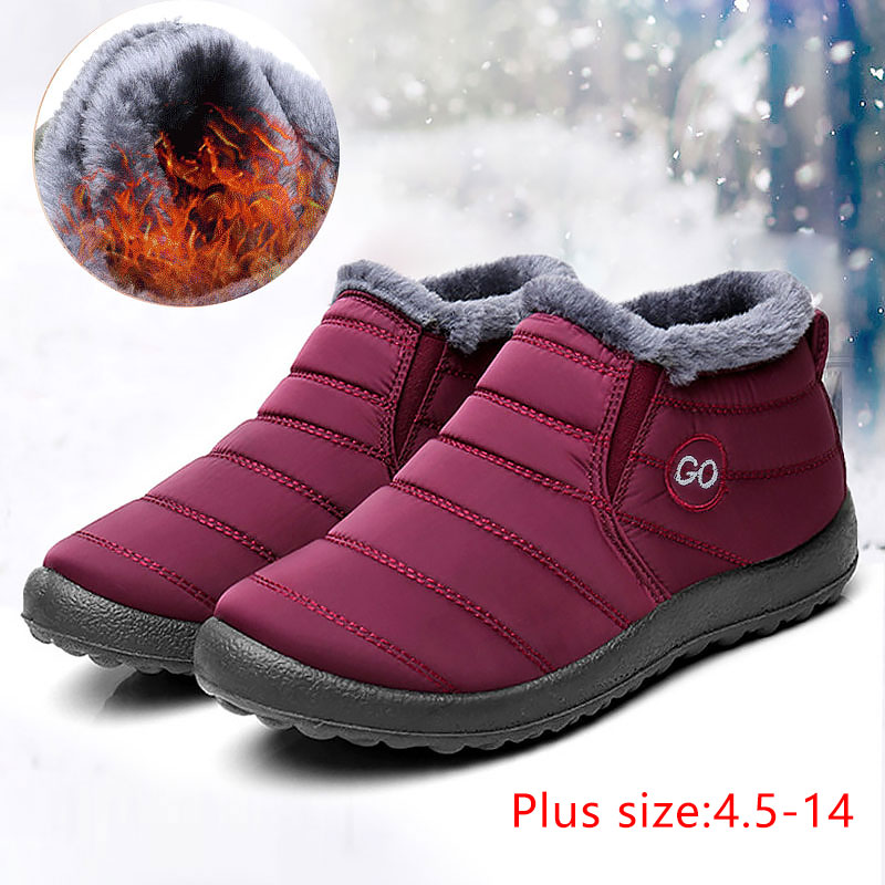 Winter Boots Casual-Shoes Waterproof Women New Plush Solid No Keep-Warm