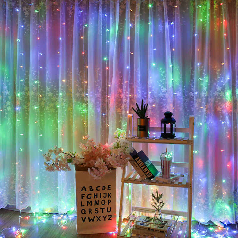 300LED Curtain Lighting String Home Outdoor Holiday Christmas Decorative Wedding String Fairy Curtain Garlands Strip Party Light