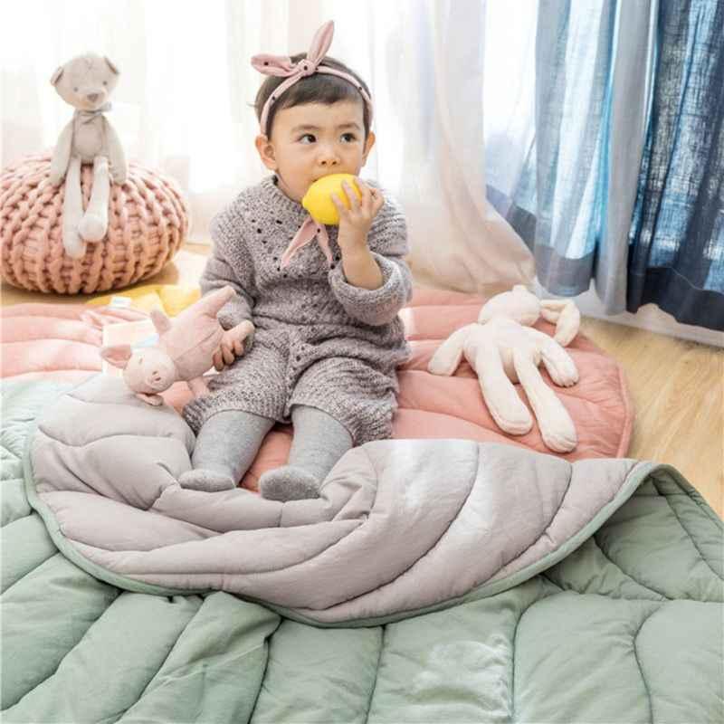lijun Newborn Baby Cotton Carpet Blanket Leaf Shape Crawling Play Mat Rug Room