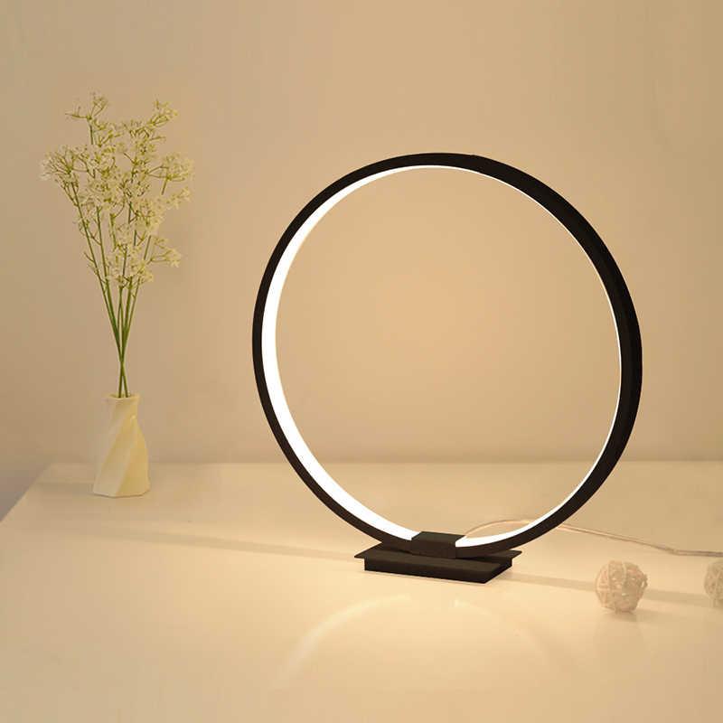 Lamplo Modern Table Lamp Aluminum Led Bedroom Reading Lamp Minimalist Circle Nighstand Lamp Touch Dimmable Led Bedside Lamp Table Lamps Aliexpress