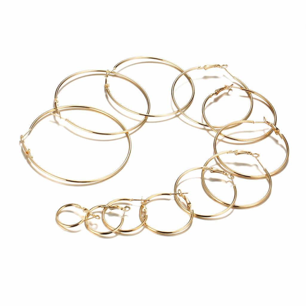 Orecchini Per Le Donne 12 paia/set Vintage Oro Argento Grande Cerchio Delle Donne Steampunk Orecchio Clip In Metallo