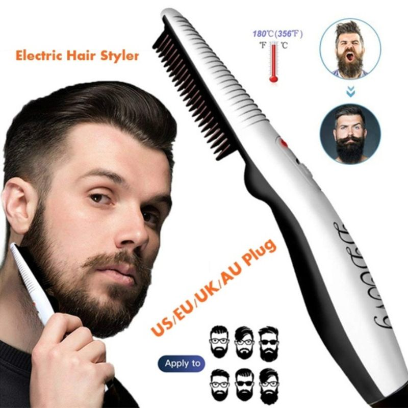 Men Women Multifunctional Electric Styling Comb Quick Heating Hair Beard Straightener Brush Salon Hairdressing Tools|Hair Trimmers| |  - title=