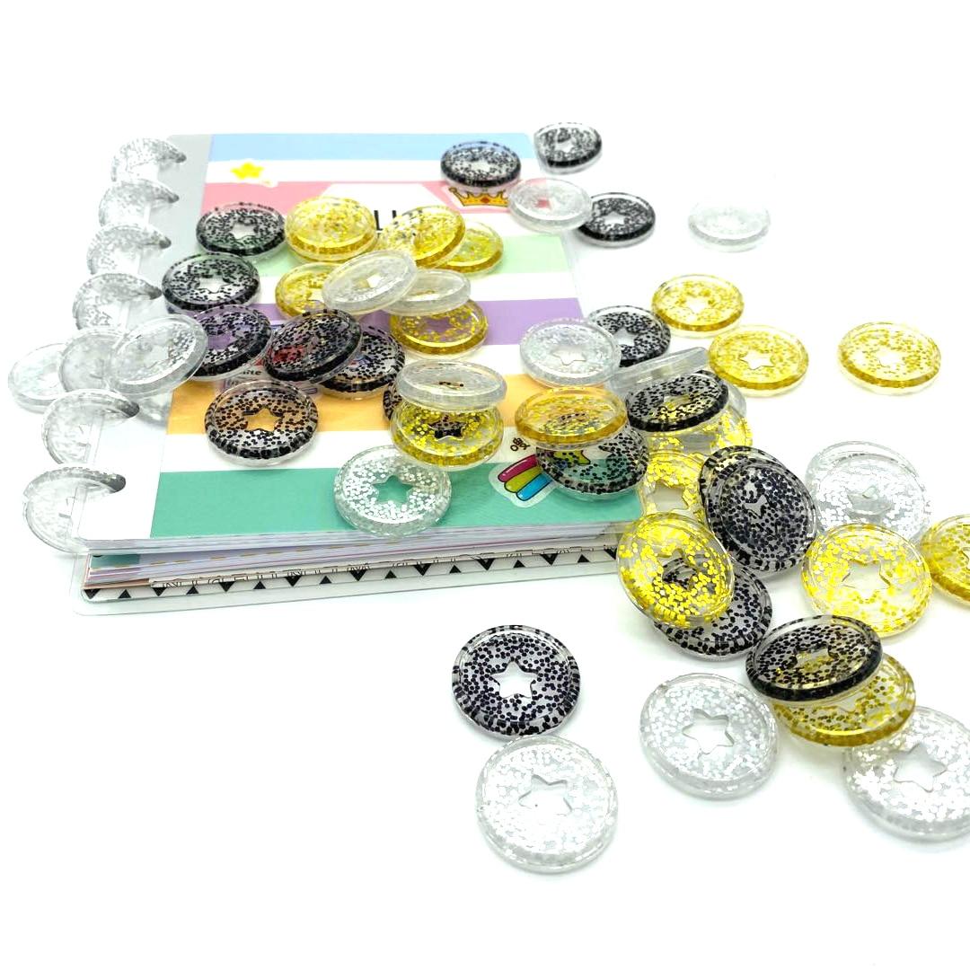 A5 Binder Plastic Accessories Buckle Flash Point Binding Discs 12pcs 27mm Notebook Mushroom Hole Button Disc Binding A4 Binder