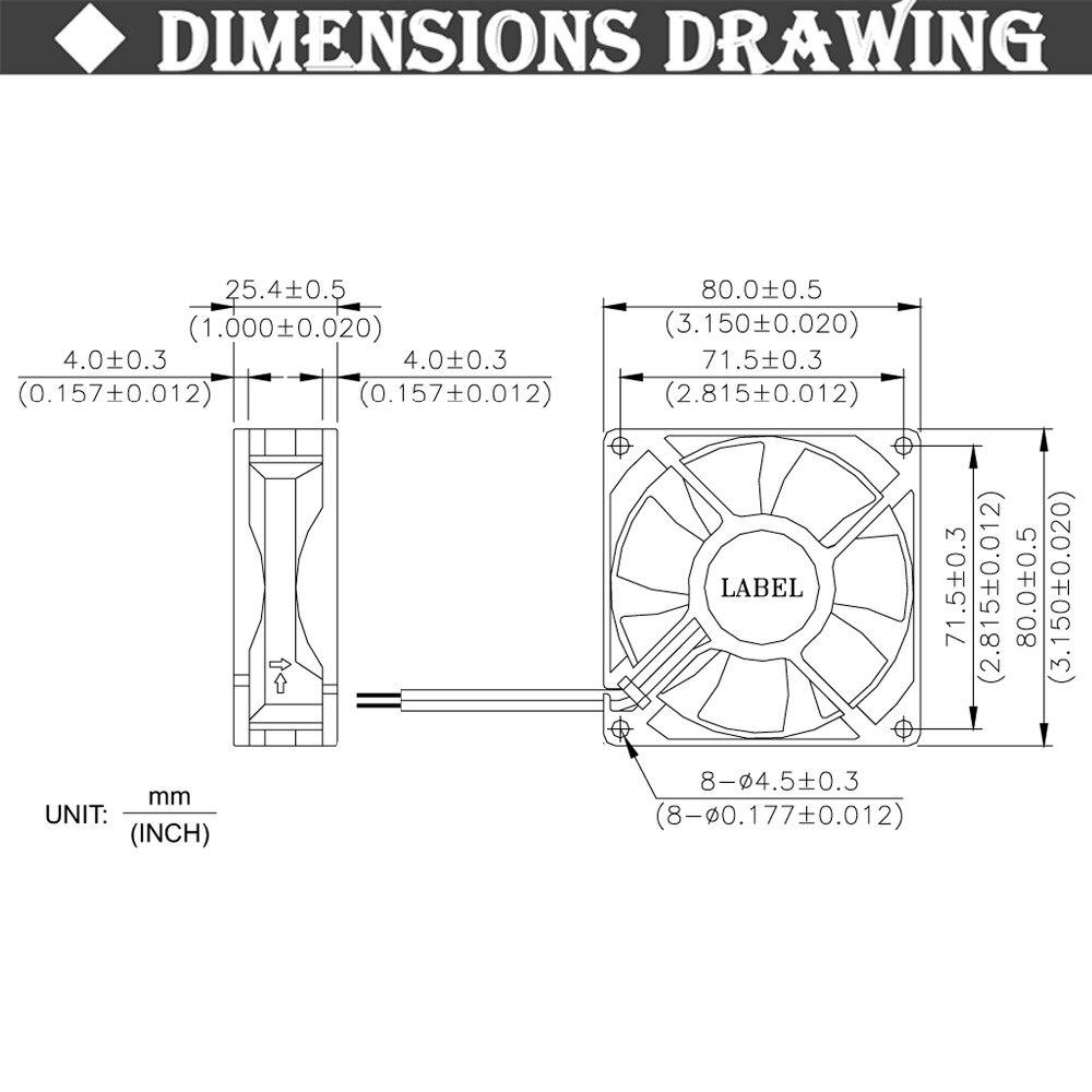 20pcs//set GDT 80mm x 25mm 3pin 3.15inch 8025 80mm 8cm Cooler Fan 12v DC