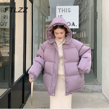 New 2020 Women Short Jacket Winter Thick Hooded Cotton Padded Coats Female Korean Loose Puffer Parkas Ladies Oversize Outwear 1