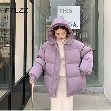 Chaqueta corta con capucha para mujer, abrigos acolchados de algodón grueso para invierno, Parkas holgadas coreanas para mujer, prendas de vestir de gran tamaño, novedad de 2020
