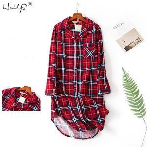 Image 3 - 春カジュアル夜女性の綿長袖ネグリジェ特大睡眠シャツ 100% 綿のパジャマ pj 寝間着