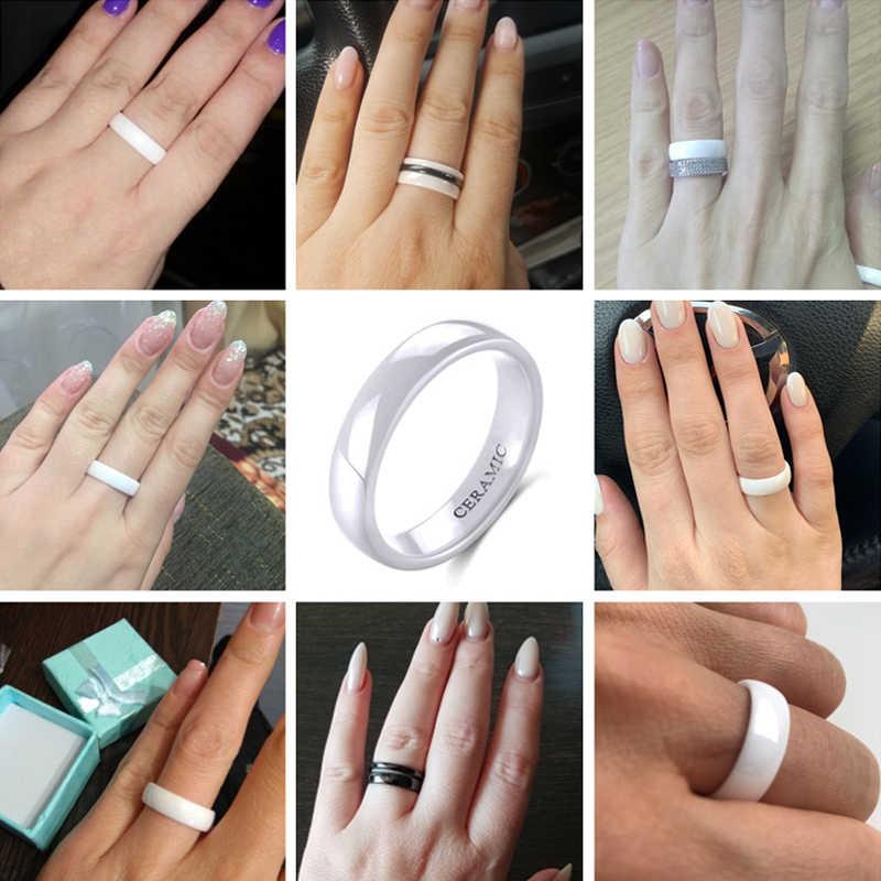 Tigrade 2 มม.4 มม.6 มม.แหวนเซรามิคสีขาวสีดำหมั้นผู้ชายแหวนแฟชั่นผู้หญิงคลาสสิกออกแบบพิเศษ anillos เครื่องประดับ