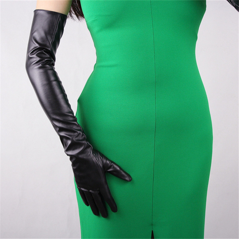 Image 2 - 60cm Long Leather Gloves Extra Long Over Elbow PU Faux Leather Emulation Sheepskin Black Touch Gloves Female WPU07 60-in Women's Gloves from Apparel Accessories on AliExpress