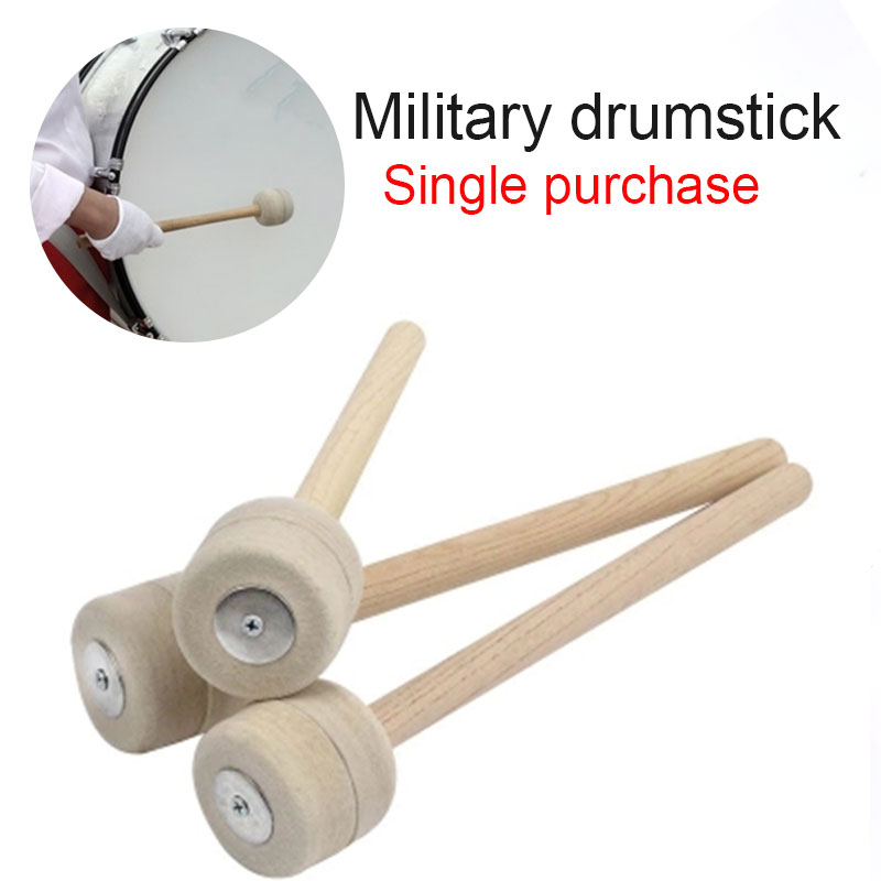 Wood Drumstick Practical Durable Soft Wool Felt Drum Musical Instruments Wool Felt Drumstick Sticks Instrumental Performance