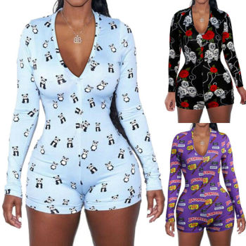 2020 Sexy Women Deep V-neck Bodycon Sleepwear Jumpsuit Button Bodysuit Shorts Romper Floral Leotard Long Sleeve Print Tracksuit