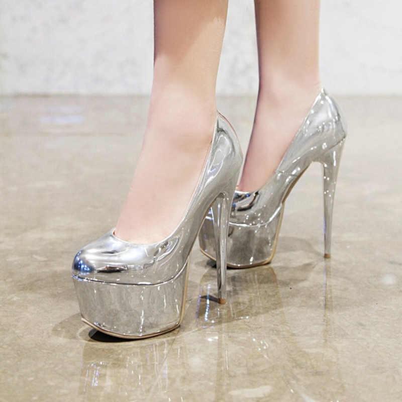 Gợi Cảm Người Phụ Nữ Bơm Giày Nền Tảng 16Cm Cực Giày Cao Gót Tôn Sùng Giày Bằng Sáng Chế Da Vàng Bạc Tiệc Cưới Giày Lớn kích Thước