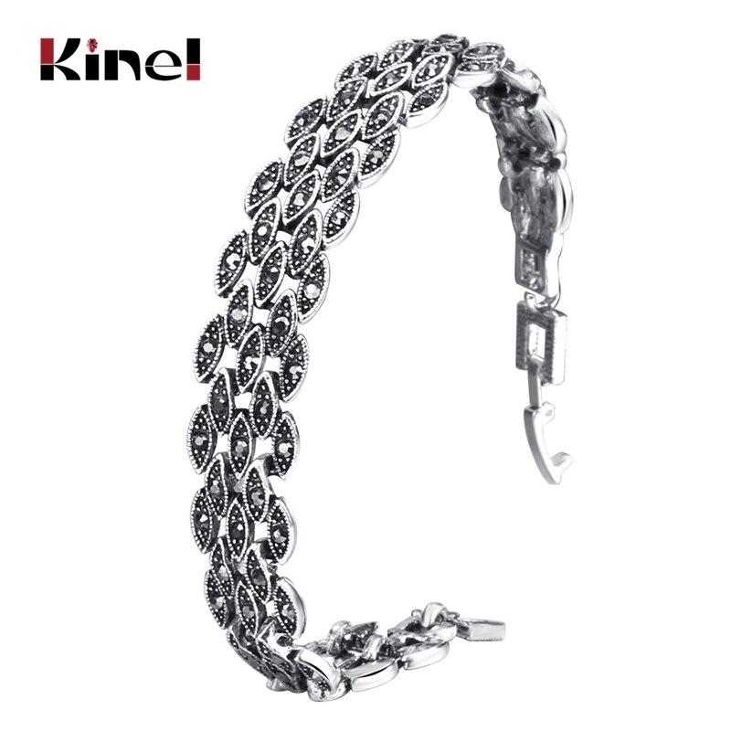 Kinel Bright Black Crystal Bracelet For Women Antique Silver Color Little Eye Link Bracelets Charm Vintage Jewelry(China)