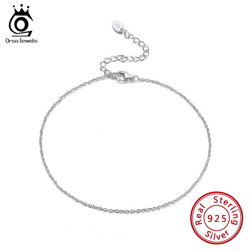 ORSA JEWELS Brand Simple Anklet Single Chain 925 Sterling Silver Ankle Chain 2020 Summer New 925 Silver Jewelry SA06