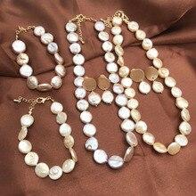 Free Shipping Irregular Pearls Baroque Champagne Purple Jewelry Set