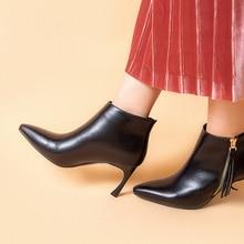 Genuine Leather Boots 2019 Fashion Black Women Ankle Boots 7.8CM High Heel Boots Size 34-43 недорго, оригинальная цена