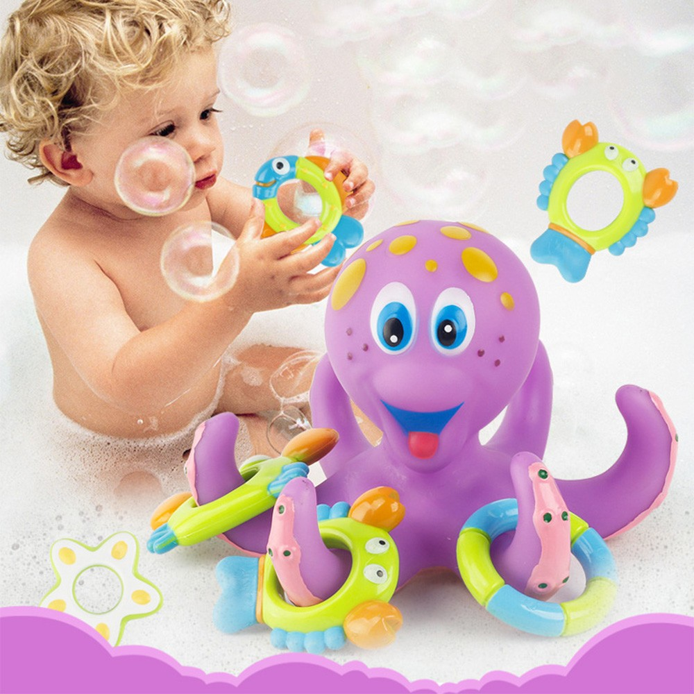 1pc Octopus Bath Toy Funny Floating Swimming Water Toys  Bathtub Bathing Pool Education Toss Game Toy For Kids Baby Children