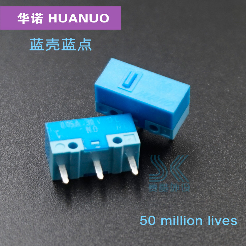 New Arrival Original Huano Mouse Micro Switch Blue Shell Blue Dot Micro Button 50 Million Clicks Lifetime Gold Alloy Contactor