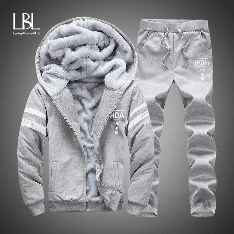 Winter Sports Suit Men Thick Warm  Set Tracksuit 2 PCS Hooded Sweatshirts Zipper Cardigan Fleece Hoodies + Pants Casual Men Set